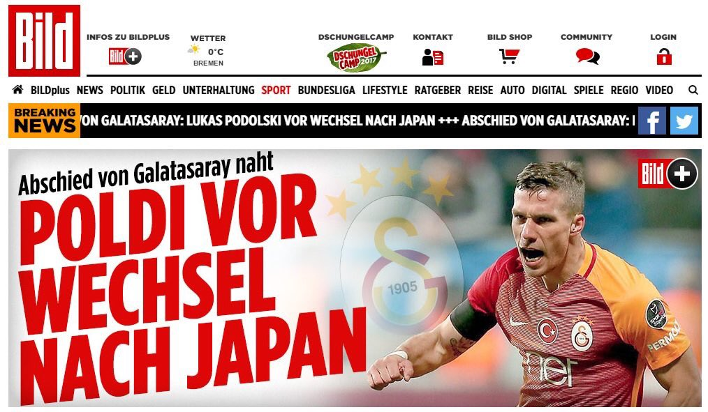 BILD reporting Lukas Podolski is on his way to Japan