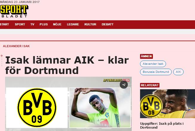 Isak lämnar AIK – klar för Dortmund