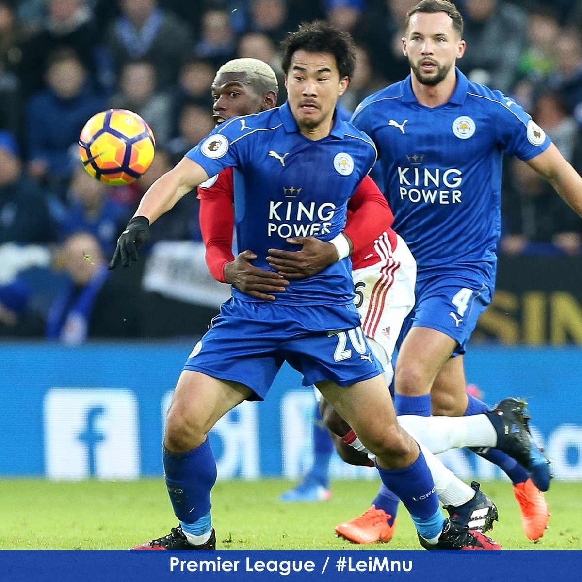 Shinji Okazaki gets the better of Paul Pogba in the early exchanges Goalless 24 minutes, but decent from #lcfc