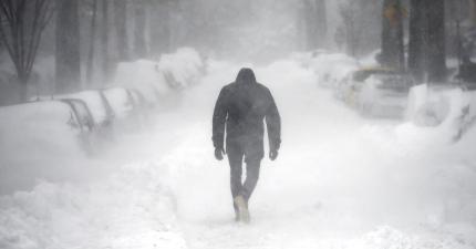 雪道 散歩 歩む