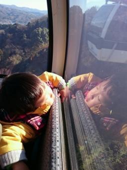 ロープウェイで寝る
