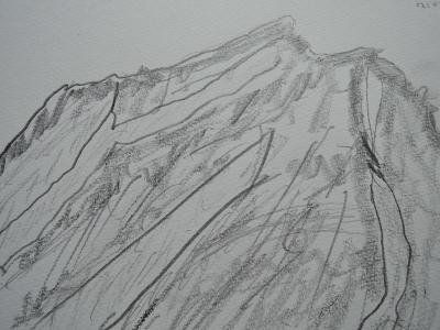 アグン山、西峰?頂上のスケッチ