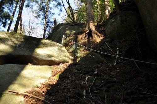 岩塚巨石見上げる