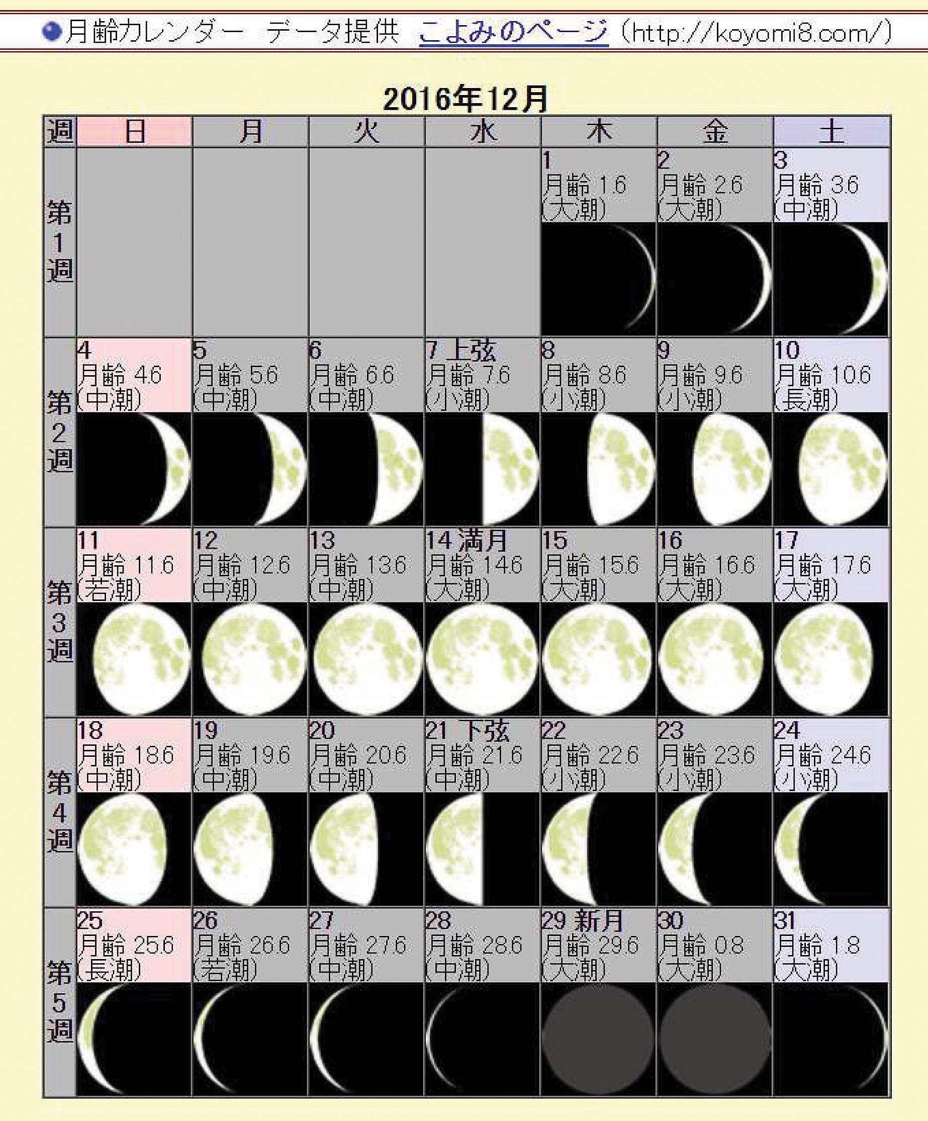 月例カレンダー