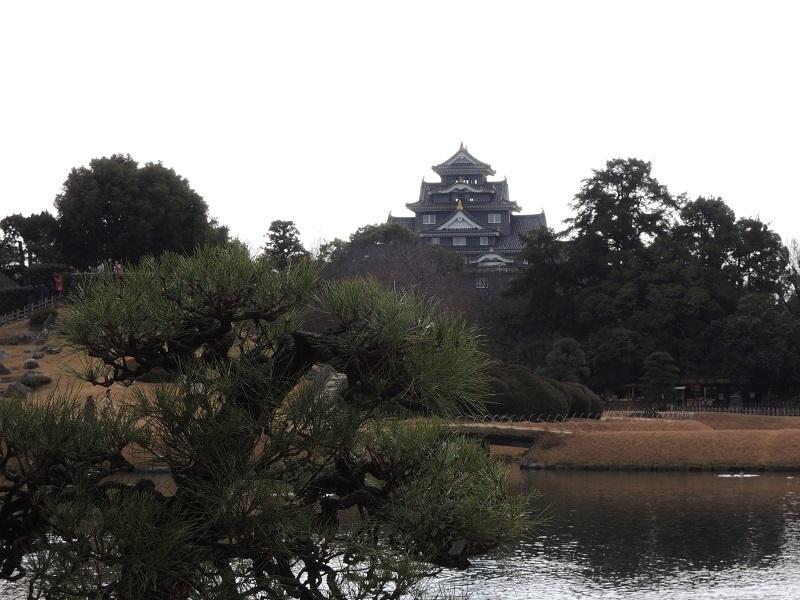 後楽園から烏城を眺めます