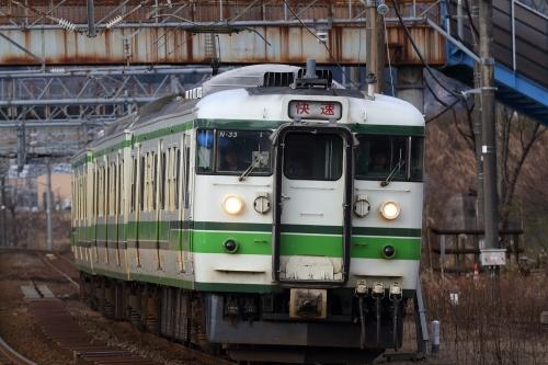115系信越本線快速列車 来迎寺駅