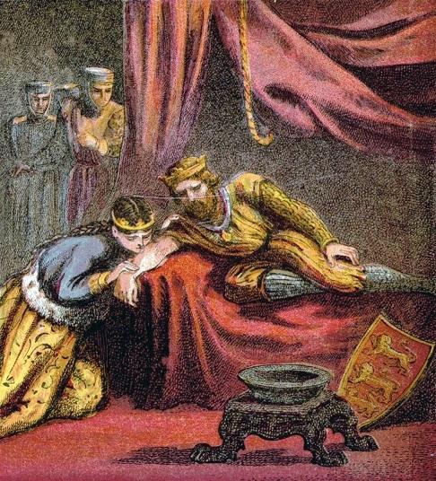 十字軍の際にエリナーがエドワードの毒を口で吸いだしたという逸話を描いた絵画
