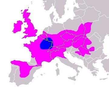 ケルト人の分布(ヨーロッパ中心部が紀元前1500年から紀元前1000年、それ以外の部分が紀元前400年)