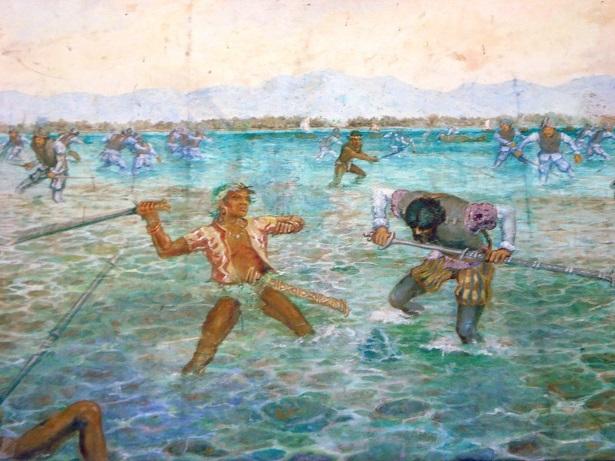 マクタン島の戦いの様子を描いた絵の一部