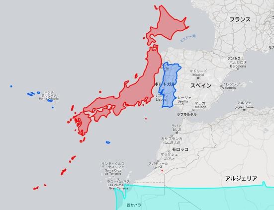 日本 ポルトガル 地図 2