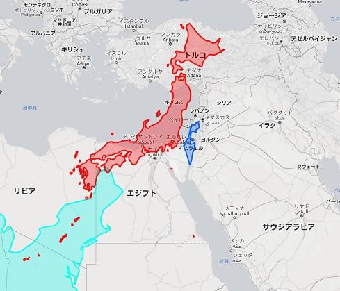 日本 イスラエル 地図