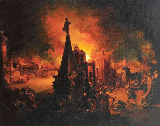 Johann Georg Trautmann『The Burning of Troy』 1759から1762年頃