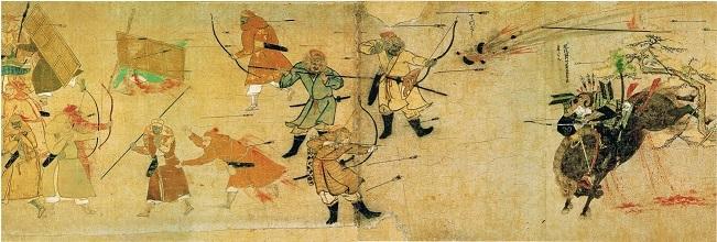 文永の役の鳥飼潟の戦い(『蒙古襲来絵詞』)