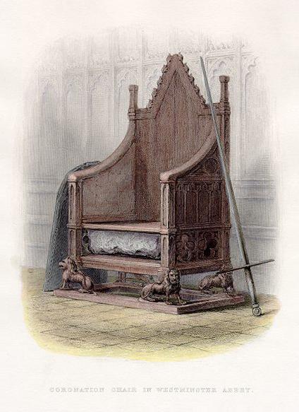 スクーンの石がはめこまれたエドワード王の椅子を描いた1855年の絵画