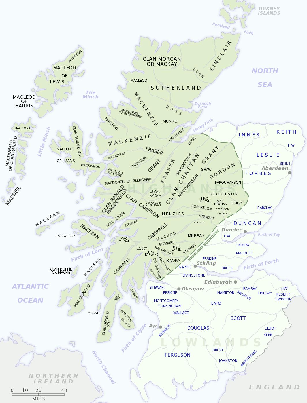 スコットランドの氏族分布地図(クリックで拡大)。緑の地域がハイランド、薄緑色がローランド