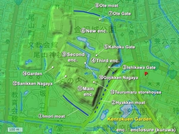 Kanazawa Castle Topography