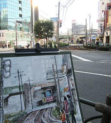 都電・大塚駅前でスケッチ