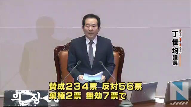 ②朴槿恵領弾劾可決!賛成234人反対56人棄権2人無効7人!韓国民大喜び!