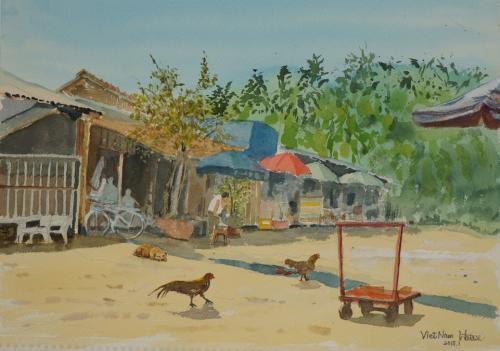 ベトナムの村で