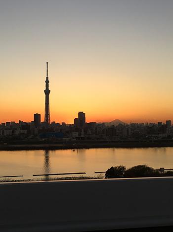 富士山スカイツリー夕日コラボ