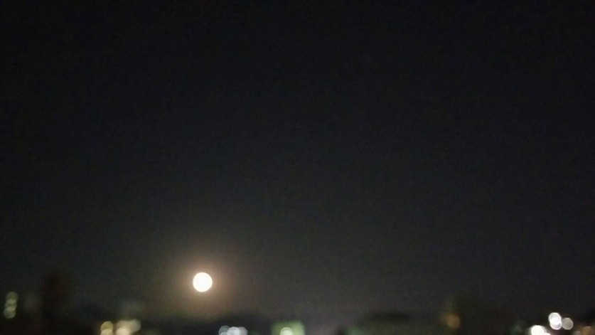 11月16日夜7時半から東の空に現れた明るい大きなお月様