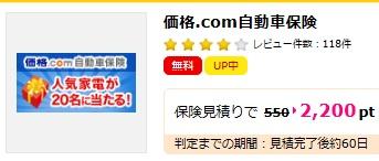 ハピタス価格コム自動車保険2200円
