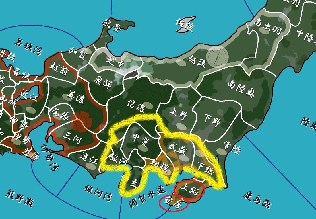 家康が提案した国替え地図