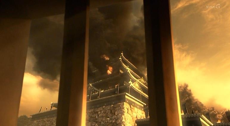 燃える大阪城 真田丸