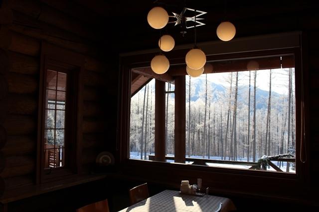 レストランから霧氷