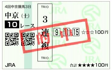 【的中馬券】161210中京10R(三連複 万馬券 的中)