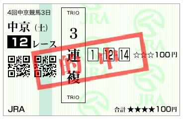 【的中馬券】161210中京12R(三連複 万馬券 的中)