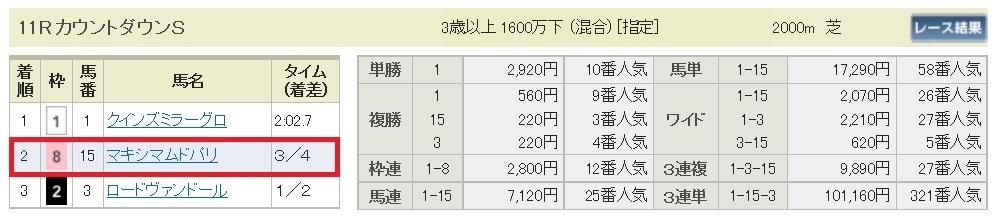 【払戻金】161225阪神11R(三連複 万馬券 的中)