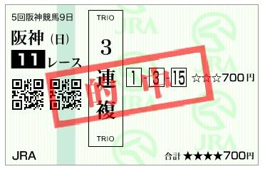 【的中馬券】20161225阪神11R(三連複 万馬券 的中)