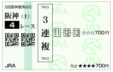 【馬券】20161224阪神4R(三連複 万馬券 的中)