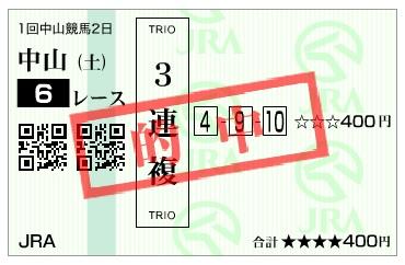 【的中馬券】170107中山6R(三連複 万馬券 的中)