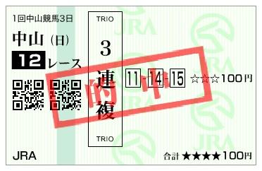 【的中馬券】170108中山12R(三連複 万馬券 的中)