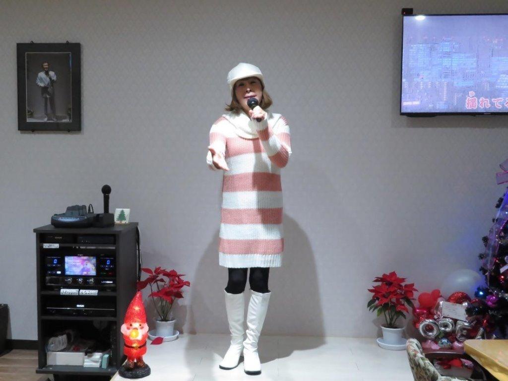 白桃太ボーダーニットワンピカラオケA(4)