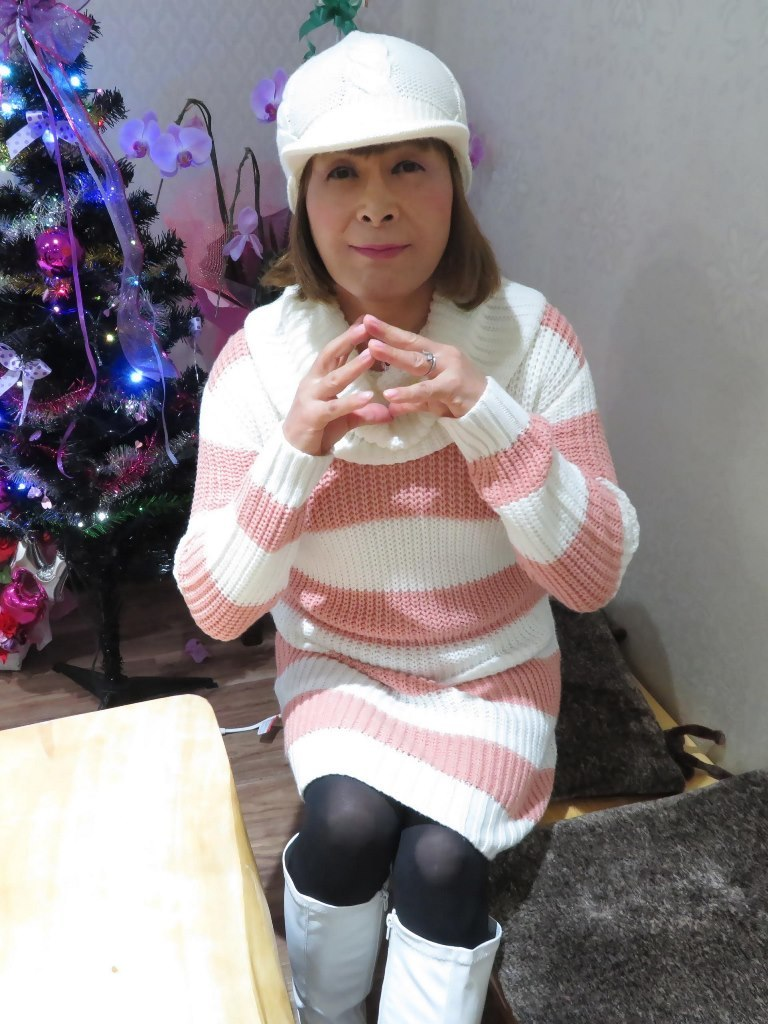 白桃太ボーダーニットワンピカラオケB(7)
