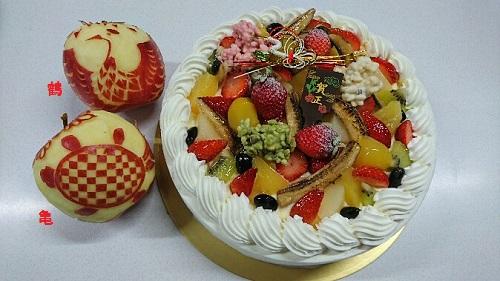 ケーキとりんご