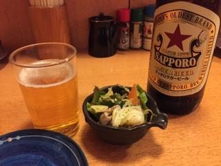瓶ビール(サッポロ)とお通し