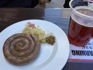 ラム肉のぐるぐるソーセージ & ドイツビール