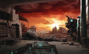 廃墟の夕日