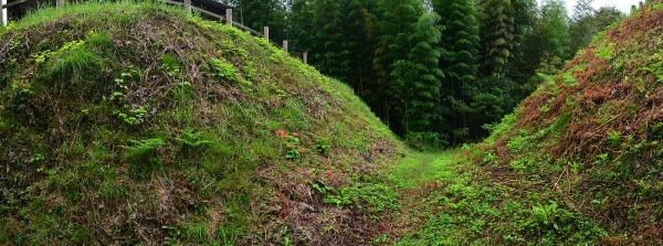 花の壇と山中御殿の間の堀切