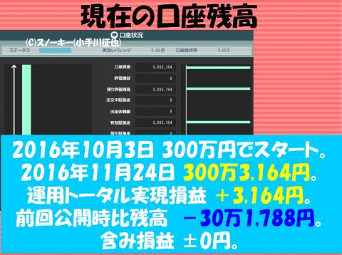 【デモ】ループ・イフダン 戦略と検証20161124口座残高