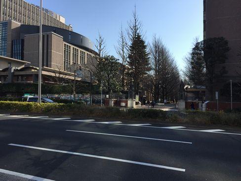 青山学院大学・正門(国道246号反対側から)_H29.01.07撮影