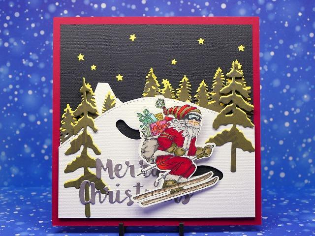Power Poppy Action Santa Christmas card