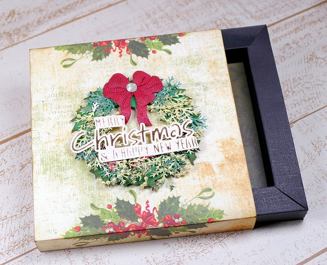 Tim Holtz Holiday Wreath Christmas Gift Box