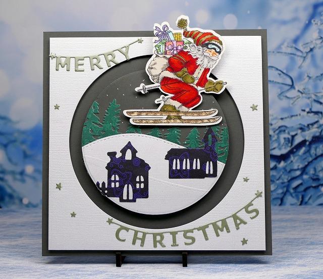 Power Poppy Action Santa - Christmas card