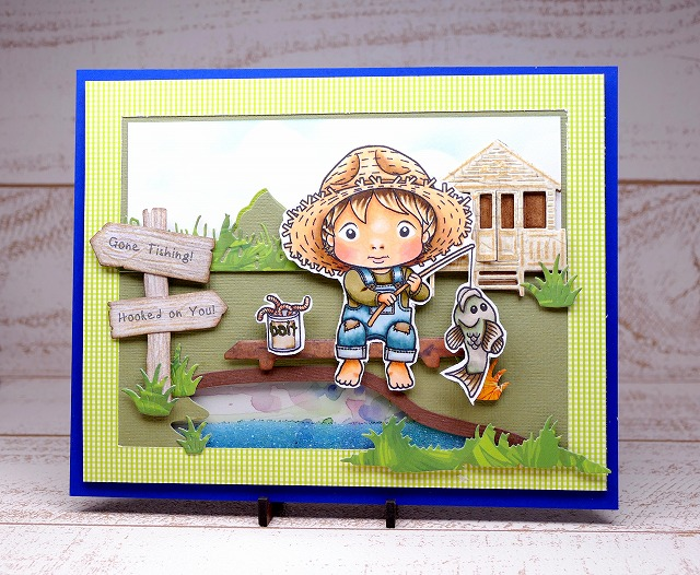 Gone Fishing Luka Digi Stamp - Card Making