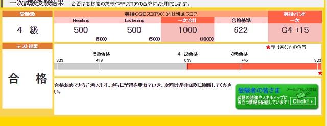 英検4級満点合格